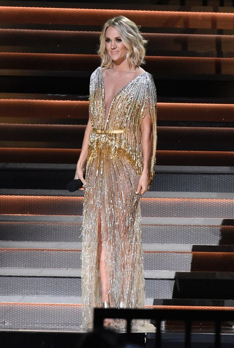 NASHVILLE, TN - NOVEMBER 02:  Co-host Carrie Underwood speaks onstage at the 50th annual CMA Awards at the Bridgestone Arena on November 2, 2016 in Nashville, Tennessee.  (Photo by Gustavo Caballero/Getty Images)