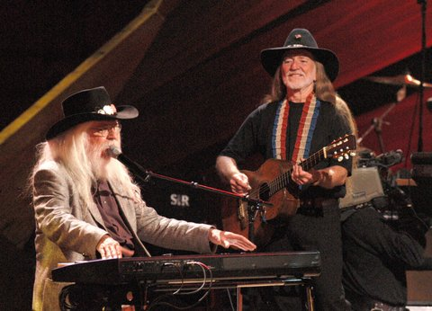 Leon Russell and Willie Nelson during Willie Nelson and Friends Perform in Celebration ofn Willie's 70th Birthday at The Beacon Theatre in New York City, NY, United States. (Photo by Stephen Lovekin/FilmMagic)