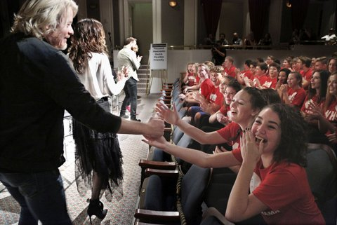 LAKE BUENA VISTA, Fla. (January 13, 2017) Five-time CMA Vocal Group of the Year winner Little Big Town kick off the Music In Our Schools Tour by surprising Wadsworth High School Choir during a Disney Performing Arts music workshop at Saratoga Springs Resort Performance Hall at Walt Disney World.