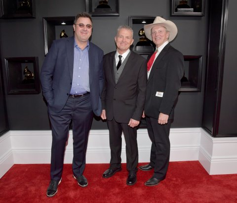 LOS ANGELES, CA - FEBRUARY 12:  (L-R) Recording artists Vince Gill, Billy Thomas and Douglas B. Green of music group Riders in the Sky attend The 59th GRAMMY Awards at STAPLES Center on February 12, 2017 in Los Angeles, California.  (Photo by Lester Cohen/WireImage)