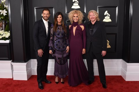 LOS ANGELES, CA - FEBRUARY 12:  (L-R) Recording artists Jimi Westbrook, Karen Fairchild, Kimberly Schlapman, and Philip Sweet of music group Little Big Town attend The 59th GRAMMY Awards at STAPLES Center on February 12, 2017 in Los Angeles, California.  (Photo by John Shearer/WireImage)