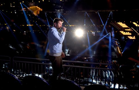 LAS VEGAS, NV - MARCH 31:  Singer Brett Eldredge rehearses onstage during for the 52nd Academy Of Country Music Awards at T-Mobile Arena on March 31, 2017 in Las Vegas, Nevada.  (Photo by Kevin Winter/ACMA2017/Getty Images for ACM)