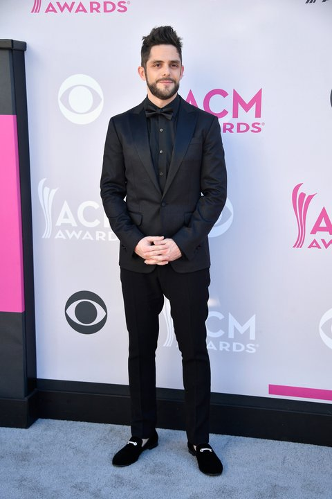 LAS VEGAS, NV - APRIL 02:  Recording artist Thomas Rhett attends the 52nd Academy Of Country Music Awards at Toshiba Plaza on April 2, 2017 in Las Vegas, Nevada.  (Photo by Frazer Harrison/Getty Images)