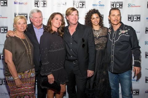 (L-R) Sally Brown, Mack Brown, Amy Ingram, Jack Ingram, Camila Alves, and Matthew McConaughey attend the 5th annual Mack, Jack & McConaughey Gala at ACL Live on April 20, 2017 in Austin, Texas. The non-profit group raises money for youth organizations. / AFP PHOTO / SUZANNE CORDEIRO        (Photo credit should read SUZANNE CORDEIRO/AFP/Getty Images)