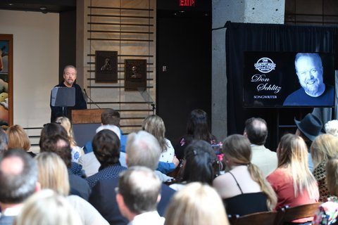 NASHVILLE, TN - APRIL 05:  Songwriter Don Schlitz accepts invitation into Country Music Hall of Fame and speaks during the 2017 Hall of Fame Inductees Announcement where he, Alan Jackson, Jerry Reed were announced to become 2017 inductees at The Country Music Hall of Fame on April 5, 2017 in Nashville, Tennessee.  (Photo by Jason Davis/Getty Images)