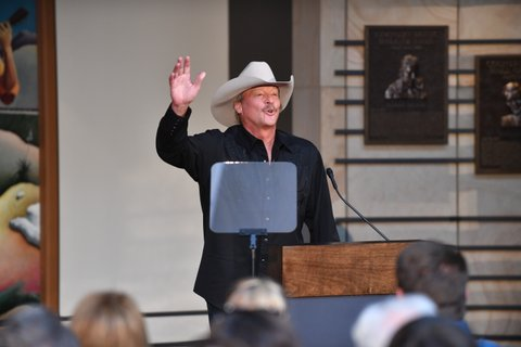 NASHVILLE, TN - APRIL 05:  Recording Artist Alan Jackson accepts invitation into Country Music Hall of Fame (Modern Era) and speaks during the 2017 Hall of Fame Inductees Announcement where he,  Jerry Reed and Don Schlitz were announced to become 2017 inductees at The Country Music Hall of Fame on April 5, 2017 in Nashville, Tennessee.  (Photo by Jason Davis/Getty Images)
