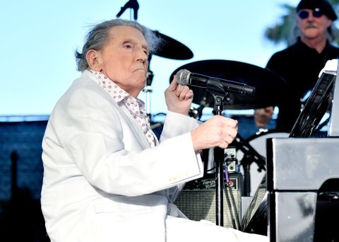 INDIO, CA - APRIL 28:  Musician Jerry Lee Lewis performs on the Palomino Stage during day 1 of 2017 Stagecoach California's Country Music Festival at the Empire Polo Club on April 28, 2017 in Indio, California.  (Photo by Frazer Harrison/Getty Images for Stagecoach)
