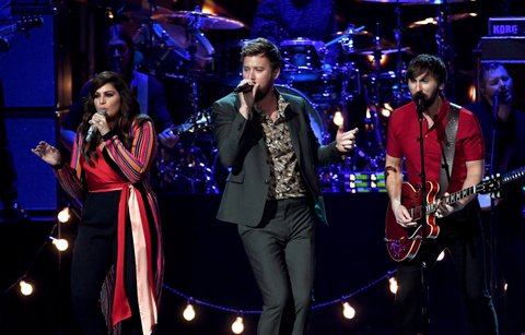 LAS VEGAS, NV - APRIL 02:  (L-R) Recording artists Hillary Scott, Charles Kelley, and Dave Haywood of music group Lady Antebellum perform onstage during the 52nd Academy Of Country Music Awards at T-Mobile Arena on April 2, 2017 in Las Vegas, Nevada.  (Photo by Ethan Miller/Getty Images)