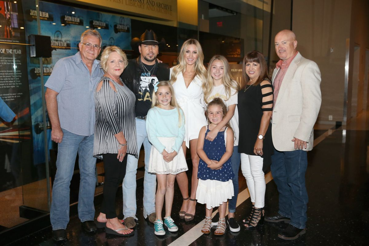 NASHVILLE, TN - MAY 25:  Singer-songwriter Jason Aldean and family at the Country Music Hall of Fame and Museum Celebrates Opening of Jason Aldean Exhibit on May 25, 2017 in Nashville, Tennessee.  (Photo by Terry Wyatt/Getty Images for Country Music Hall Of Fame & Museum)