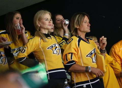 NASHVILLE, TN - JUNE 03:  Actress Nicole Kidman and Keith Urban attend the Stanley Cup Finals Game 3 Nashville Predators Vs. Pittsburgh Penguins at Bridgestone Arena on June 3, 2017 in Nashville, Tennessee.  (Photo by Terry Wyatt/Getty Images)