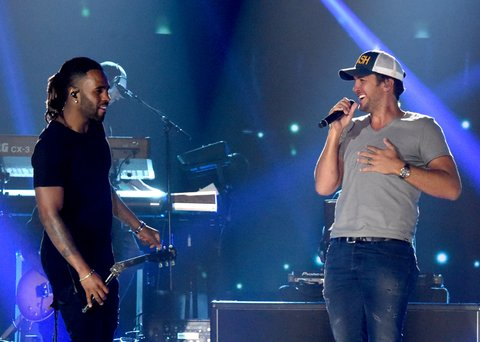NASHVILLE, TN - JUNE 05:  Singer-songwriters Jason Derulo and Luke Bryan perform onstage during 2017 CMT Music Awards - Rehearsals at Music City Convention Center on June 5, 2017 in Nashville, Tennessee.  (Photo by Rick Diamond/Getty Images for CMT)