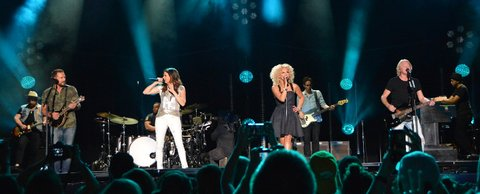 NASHVILLE, TN - JUNE 11:  (EDITORIAL USE ONLY)  (L-R) Singer/songwriters Jimi Westbrook, Karen Fairchild, Kimberly Schlapman and Phillip Sweet of Little Big Town perform at Nissan Stadium during day 4 of the 2017 CMA Music Festival on June 11, 2017 in Nashville, Tennessee.  (Photo by Mindy Small/FilmMagic)