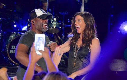 NASHVILLE, TN - JUNE 11:  (EDITORIAL USE ONLY)  Singer/songwriters Darius Rucker (L) and Karen Fairchild of Little Big Town perform at Nissan Stadium during day 4 of the 2017 CMA Music Festival on June 11, 2017 in Nashville, Tennessee.  (Photo by Mindy Small/FilmMagic)