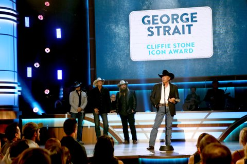 NASHVILLE, TN - AUGUST 23: Jason Aldean, Alan Jackson, and Chris Stapleton present George Strait with the Cliffie Stone Icon Award onstage during the 11th Annual ACM Honors at the Ryman Auditorium on August 23, 2017 in Nashville, Tennessee.  (Photo by Terry Wyatt/Getty Images for ACM)