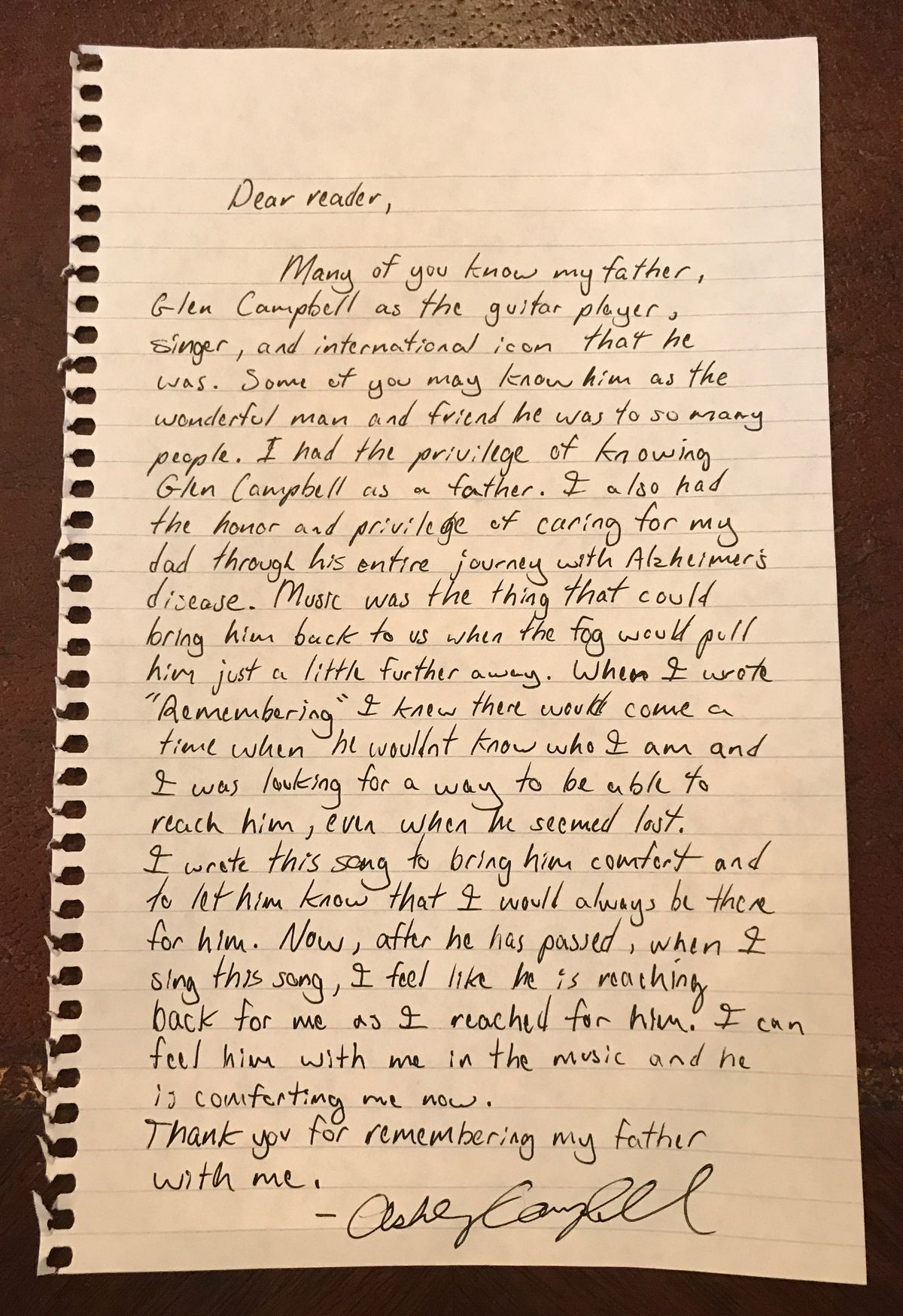 Ashley Campbell letter
