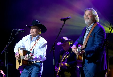 SAN ANTONIO, TX - SEPTEMBER 12:  George Strait (L) and Robert Early Keen perform onstage during George Strait's Hand in Hand Texas benefit concert; Strait and special guests Miranda Lambert, Chris Stapleton, Lyle Lovett and Robert Early Keen perform in concert at the Majestic Theatre on September 12, 2017 in San Antonio, Texas.  (Photo by Rick Diamond/Getty Images for George Strait)