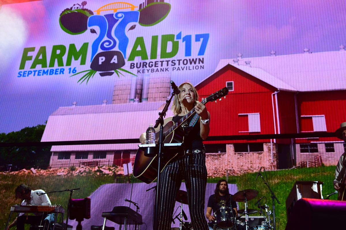 PITTSBURGH, PA - SEPTEMBER 16: Sheryl Crow performs during  2017 Farm Aid on September 16, 2017 in Burgettstown, Pennsylvania. (Photo by Matt Kincaid/Getty Images)