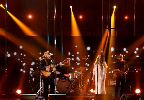 NASHVILLE, TN - OCTOBER 18:  Honoree Chris Stapletpn and Morgane Stapleton perform onstage at the 2017 CMT Artists Of The Year on October 18, 2017 in Nashville, Tennessee.  (Photo by Rick Diamond/Getty Images for CMT)