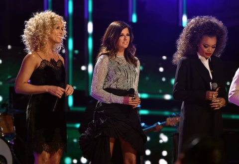 NASHVILLE, TN - OCTOBER 18:  Kimberly Schlapman, Karen Fairchild, and Andra Day perform onstage at the 2017 CMT Artists Of The Year on October 18, 2017 in Nashville, Tennessee.  (Photo by John Shearer/Getty Images for CMT)