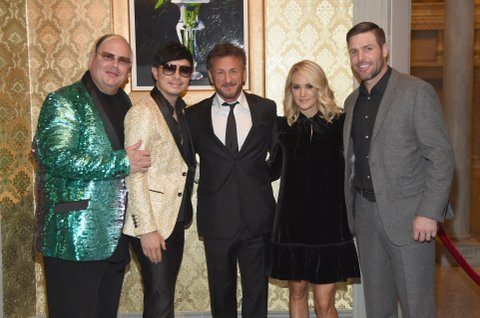 BRENTWOOD, TN - OCTOBER 24:  Hosts Johnathon Arndt, Newman Arndt, actor Sean Penn, Carrie Underwood and Mike Fisher attend Nashville Shines for Haiti benefiting Sean Penn's J/P Haitian relief organization featuring Tim McGraw hosted and underwritten by Johnathon Arndt and Newman Arndt at the Arndt Estate on October 24, 2017 in Brentwood, Tennessee.  (Photo by Rick Diamond/Getty Images for J/P Haitian Relief Organization)