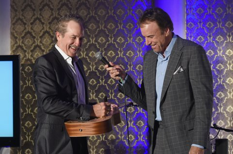BRENTWOOD, TN - OCTOBER 24:  Singer-songwriter Kix Brooks of Brooks & Dunn and  Comedian Kevin Nealon speak onstage at Nashville Shines for Haiti benefitting Sean Penn's J/P Haitian relief organization featuring Tim McGraw hosted and underwritten by Johnathon Arndt and Newman Arndt at the Arndt Estate on October 24, 2017 in Brentwood, Tennessee.  (Photo by Rick Diamond/Getty Images)
