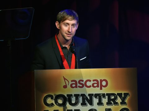 NASHVILLE, TN - NOVEMBER 06:  Songwriter of the Year Ashley Gorley speaks onstage during the 55th annual ASCAP Country Music awards at the Ryman Auditorium on November 6, 2017 in Nashville, Tennessee.  (Photo by Rick Diamond/Getty Images)