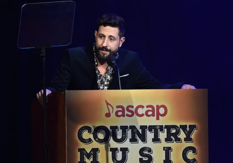 NASHVILLE, TN - NOVEMBER 06:  Singer-songwriter Matthew Ramsay accepts an award onstage during the 55th annual ASCAP Country Music awards at the Ryman Auditorium on November 6, 2017 in Nashville, Tennessee.  (Photo by Rick Diamond/Getty Images)