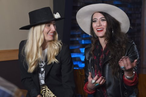 NASHVILLE, TN - NOVEMBER 07: Ruby Stewart and Alyssa Bonagura of The Sisterhood Band speak during an interview before the 2017 CMT Next Women Of Country Celebration at City Winery Nashville on November 7, 2017 in Nashville, Tennessee.  (Photo by Rick Diamond/Getty Images for CMT)