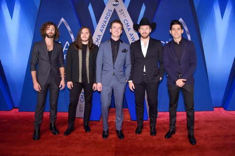 NASHVILLE, TN - NOVEMBER 08: Eric Steedly, Trip Howell, Brandon Lancaster, Jared Hampton, and Chandler Baldwin of musical group LANco attend the 51st annual CMA Awards at the Bridgestone Arena on November 8, 2017 in Nashville, Tennessee.  (Photo by Michael Loccisano/Getty Images)