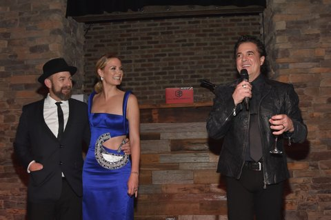 NASHVILLE, TN - NOVEMBER 09: (L-R) Kristian Bush and Jennifer Nettles of Sugarland and CEO of Big Machine Records Scott Borchetta speak onstage during the Big Machine Label Group's celebration of the 51st Annual CMA Awards at FGL House in Nashville on November 8, 2017 in Nashville, Tennessee.  (Photo by Rick Diamond/Getty Images for BMLG )
