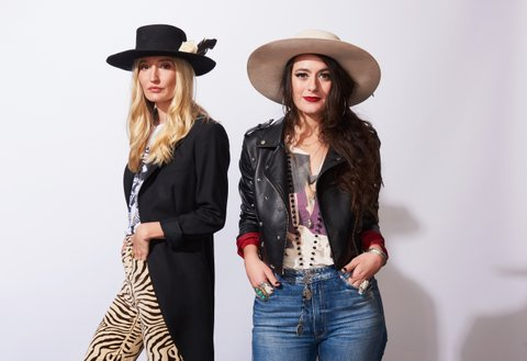NASHVILLE, TN - NOVEMBER 07:  Recording artists Ruby Stewart and Alyssa Bonagura of The Sisterhood pose in the portrait studio at the 2017 CMT Next Women Of Country Celebration at City Winery Nashville on November 7, 2017 in Nashville, Tennessee.  (Photo by John Shearer/Getty Images for CMT)