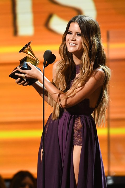 LOS ANGELES, CA - FEBRUARY 12: Recording artist Maren Morris accepts the award for Best Country Solo Performance for 'My Church,' onstage during The 59th GRAMMY Awards at STAPLES Center on February 12, 2017 in Los Angeles, California.  (Photo by Kevork Djansezian/Getty Images)