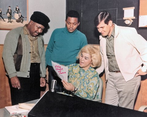 MUSCLE SHOALS AL - CIRCA 1967:  R and B singer Etta James rehearses as owner of Fame Studios Rick Hall (right) and members of the house band look on during a recording session at Fame Studios circa 1967 in Muscle Shoals, Alabama. (Photo by House Of Fame LLC/Michael Ochs Archive/Getty Images)