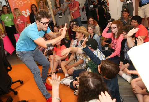 NASHVILLE, TN - JUNE 23:  Radio personality Bobby Bones joins ACM Lifting Lives campers during ACM Lifting Lives Music Camp at Seacrest Studio on June 23, 2017 in Nashville, Tennessee.  (Photo by Terry Wyatt/Getty Images for Academy of Country Music)
