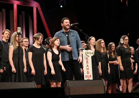 NASHVILLE, TN - JUNE 27:  ACM Lifting Lives music Campers join Singer-songwriter Chris Young on stage during a Performance at Grand Ole Opry House on June 27, 2017 in Nashville, Tennessee.  (Photo by Terry Wyatt/Getty Images for Academy of Country Music)